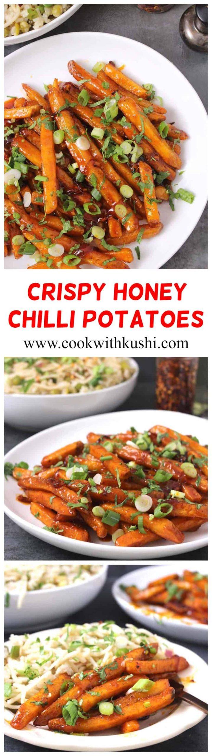 Crispy Honey Chilli Potatoes are irresistibly delicious, addictive sweet & spicy appetizer where the golden potatoes are glazed with fresh #honeychillisauce or #honeysrirachasauce. #superbowlfood #partyfoodideas #potatorecipes #potatosides #potatoappetizers
