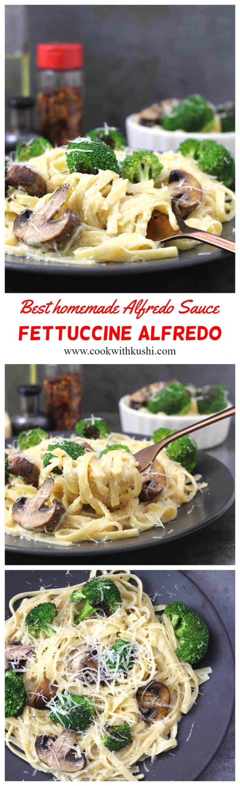 Fettuccine Alfredo or Fettuccine Al Burro is one of the classic & rich Italian pasta recipe that is creamy, buttery and cheesy where the fettuccine pasta is tossed in the best and easy homemade alfredo sauce. #fettuccinealfredo #pastarecipes #italianrecipes #homemadesauce #pastasauce #whitesauce #broccoli #mushrooms #chickenalfredo #shrimpalfredo #dinenrrecipes #maincourse #instantpot #homemade #kidsfriendly #vegetariandinner