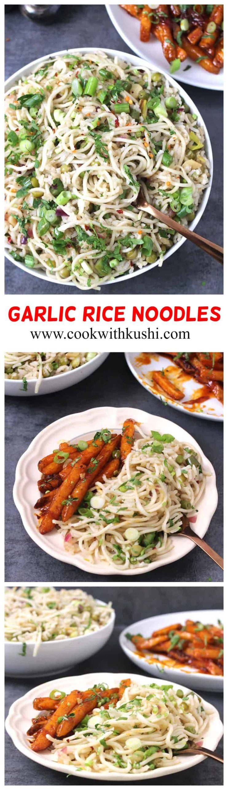 Garlic Rice Noodles is a delicious combination of rice and noodles tossed in roasted garlic, vegetables of your choice and sauces #garlicnoodles #garlicrice #friedrice #schezwannoodles #potluck #gamenight #lunchbox