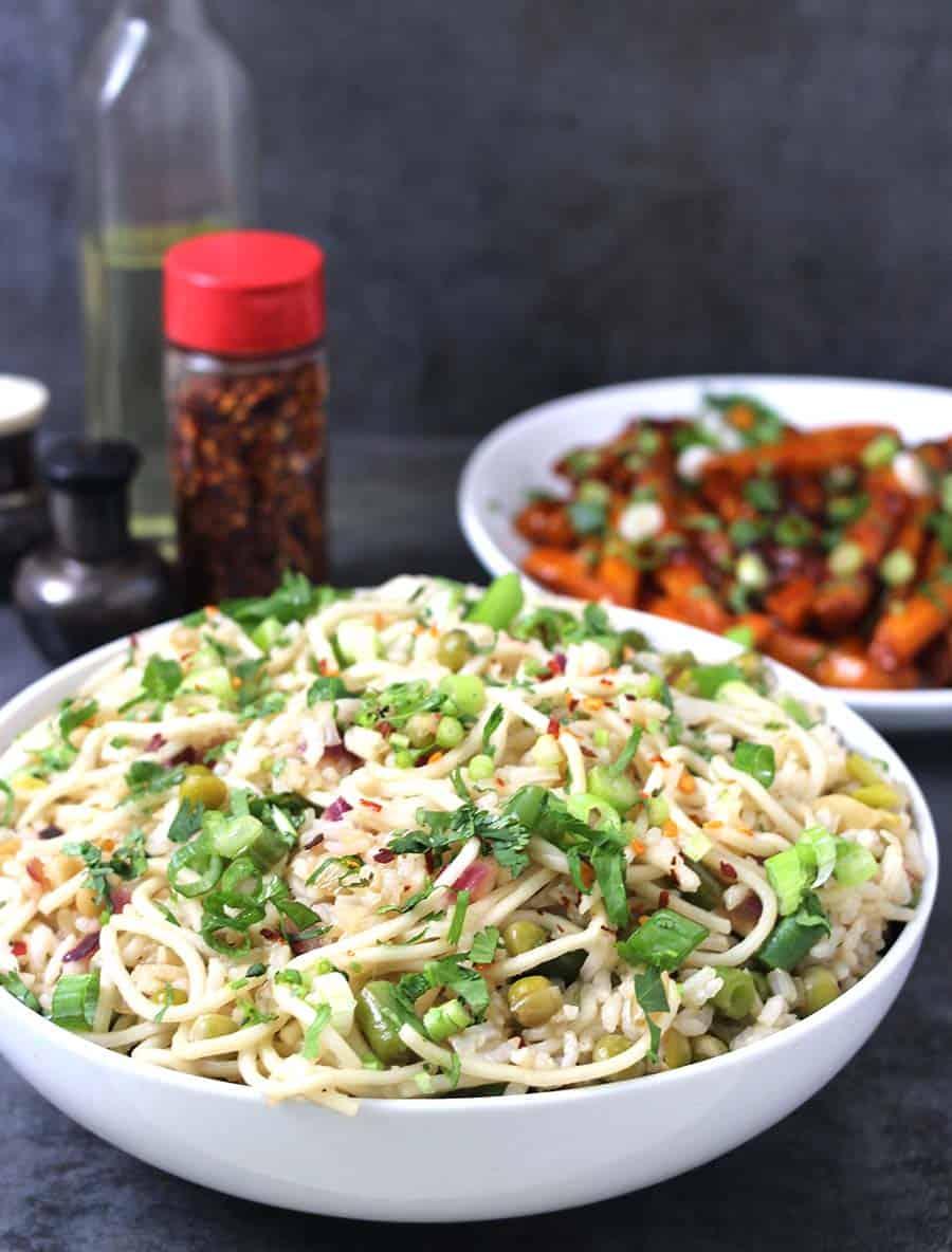 garlic rice noodles , manchurian rice, indian noodles