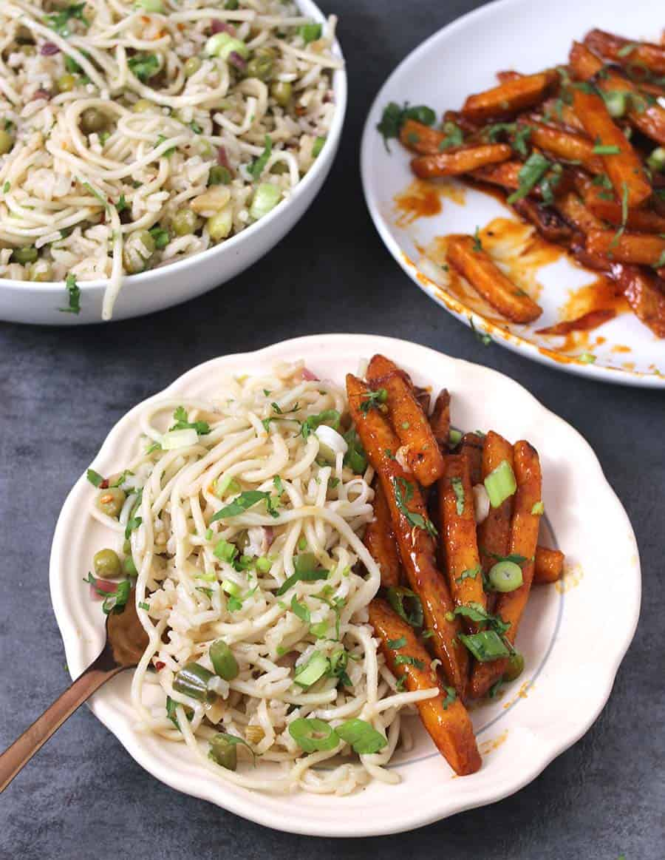schezwan rice, schezwan noodles, chilli noodles