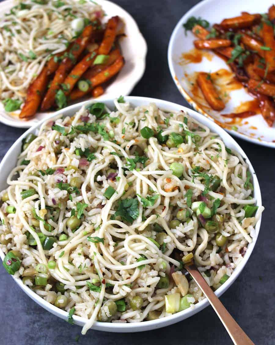 Garlic rice noodles rice recipe indian, main course entree, lunch box recipes, kids friendly noodles