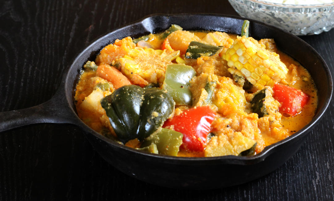 Gajbaje, mixed vegetable curry for lunch and dinner