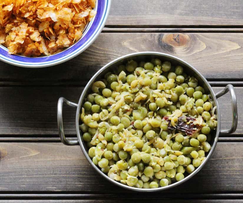 Batani Usli / Green Peas Sundal for upvas, vrat fasting breakfast
