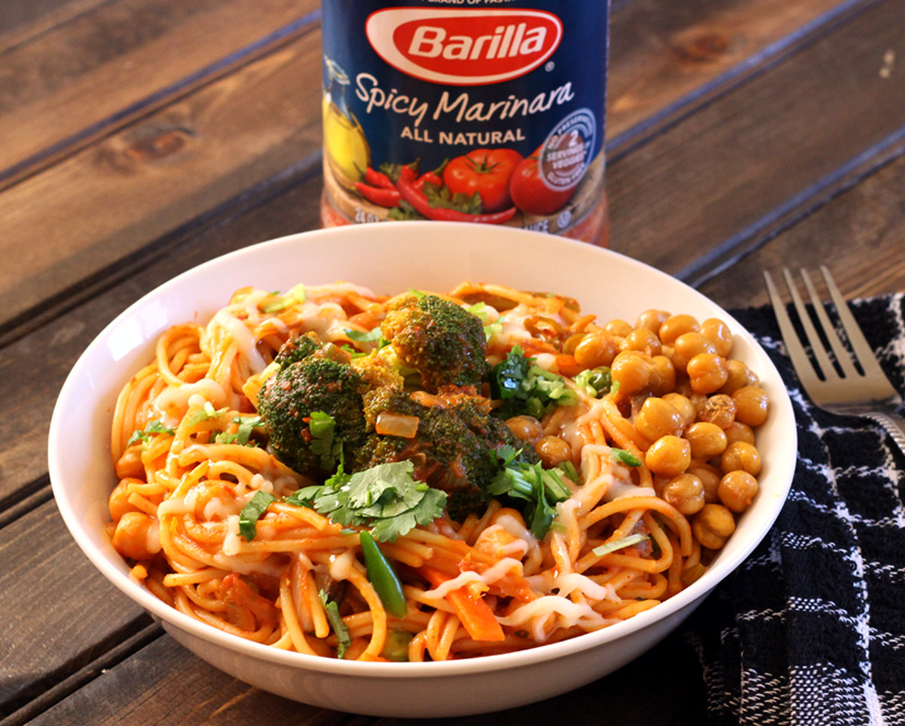 PASTA WITH SPICY MARINARA AND CHICKPEAS - Cook with Kushi