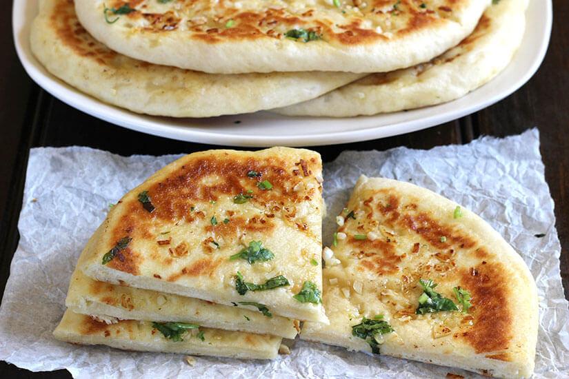 Easy garlic cheese naan bread, naan recipe, stuffed flatbread, roti
