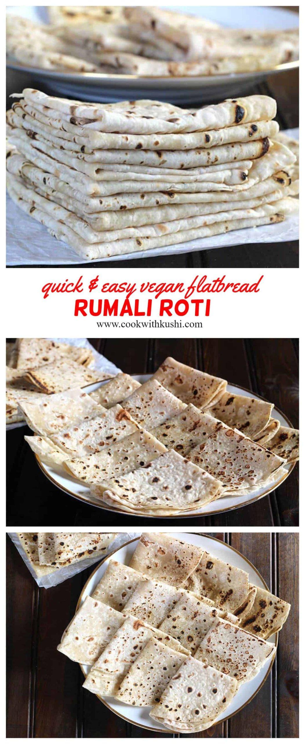 Quick and easy vegan flatbread - Rumali roti