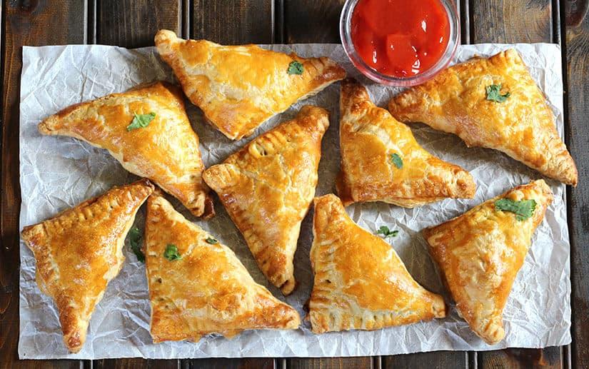 Puff samosa, stuffed samosa, puff pastry bites, veg puff, puff recipes,