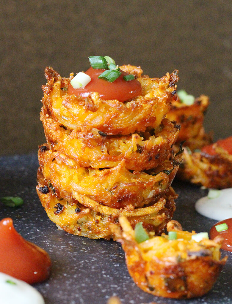 Hashbrown bites, cups, cheesy potatoes, philly cheesesteak, superbowl food ideas