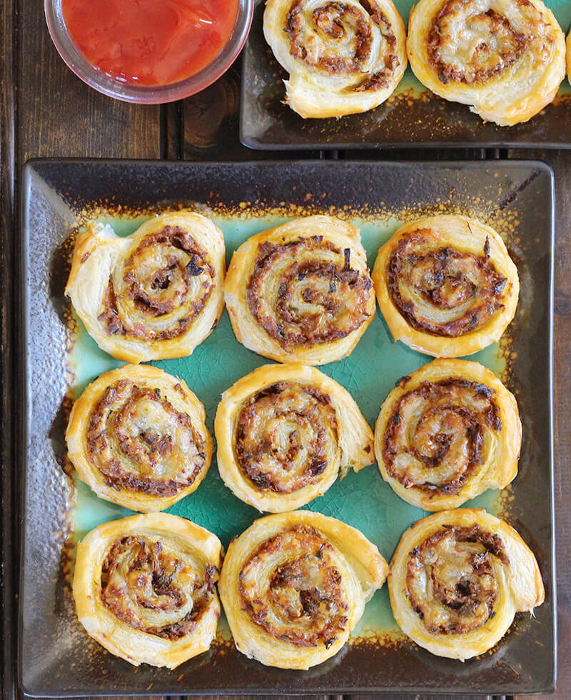 pinwheels and rollups using puff pastry for party, dinner, lunch, snack