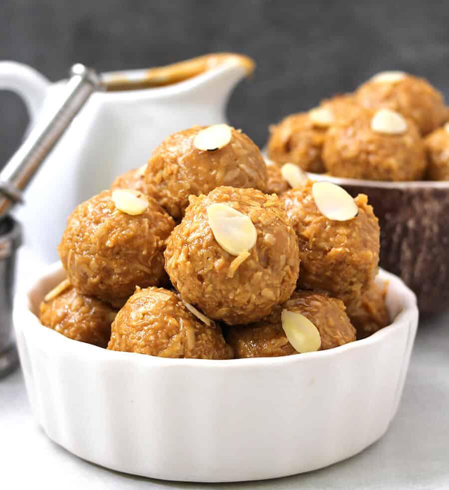 Diwali sweets /jaggery ladoo / Coconut Bites