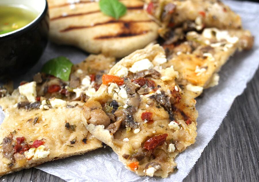 Mushroom Stuffed Flatbread / Flatbread Recipes / feta Cheese Stuffed Flatbread / Cheese Recipes / Tailgating Recipes /Potluck Recipes / Vegan Recipes / Bread Recipes / Holiday Recipes / Summer Recipes