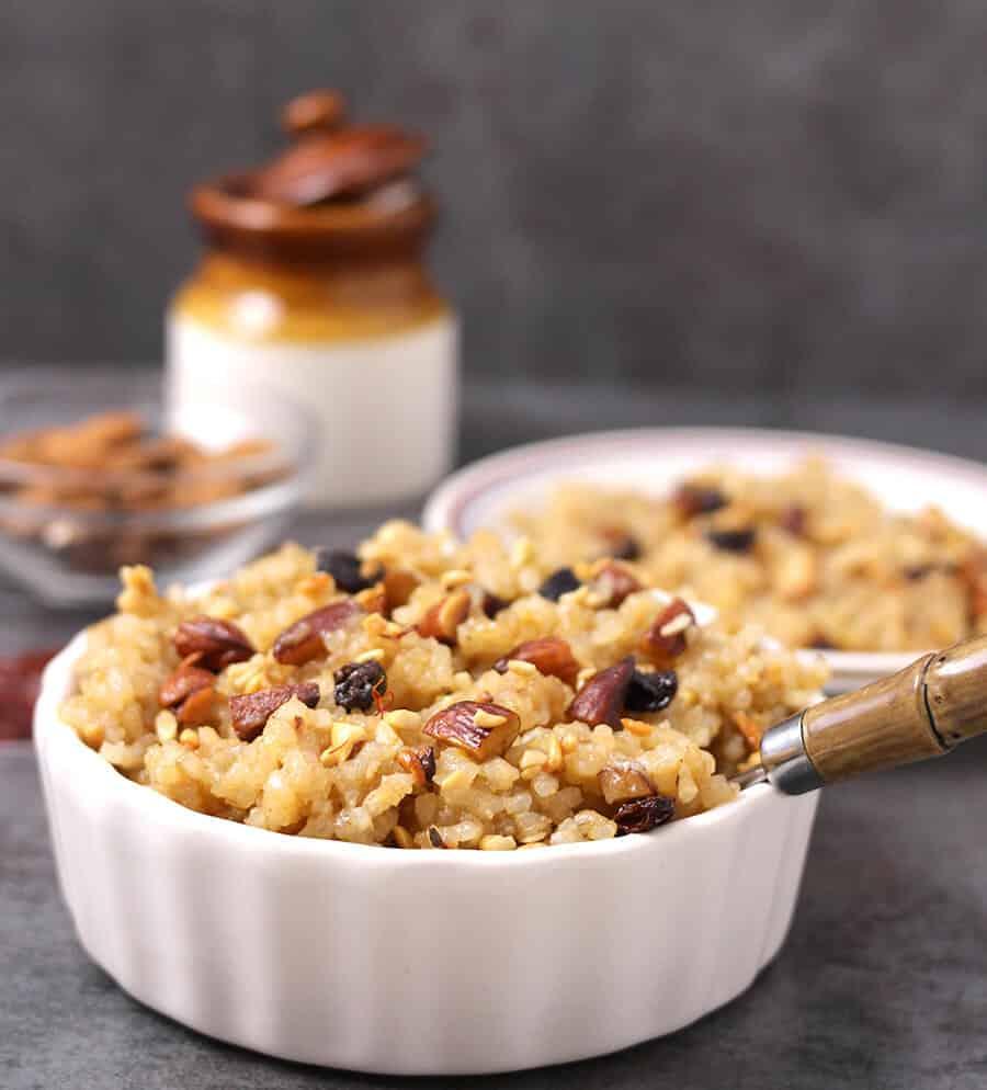 Rice Kesari Bath / saffron Ghee Rice / konkani sweets or prasad for ganapati