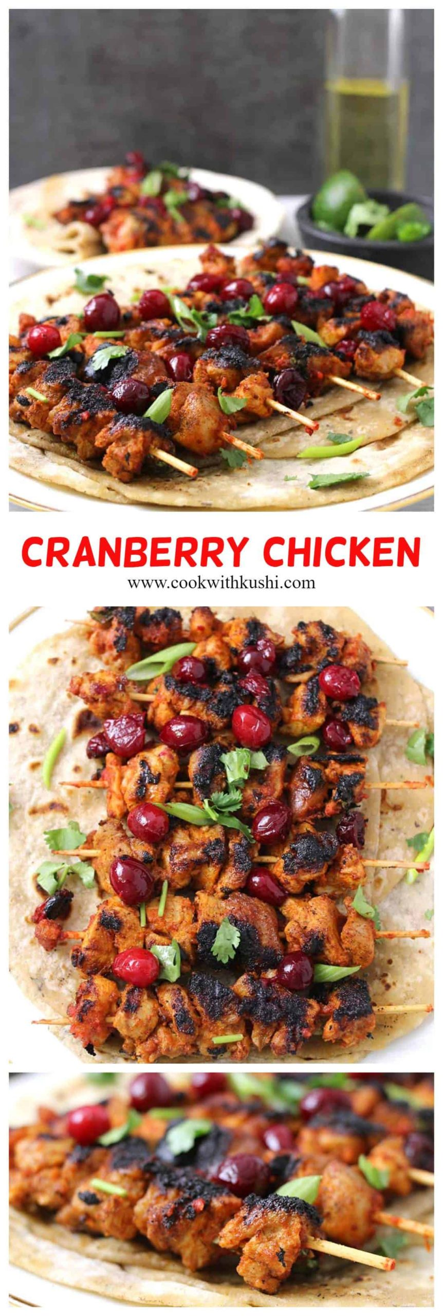 Cranberry Chicken is a super delicious and easy to make side dish or appetizer recipe with perfect combination of sourness and spiciness that will be a showstopper at your dinner table this Thanksgiving or Christmas. I just love how simple it is to put everything together. #dinnersides #appetizers #thanksgivingdinner #christmasfood #cranberryrecipes #cranberries #footballfood #superbowl #chickenthighs #grilledchicken #cranberrychickensalad