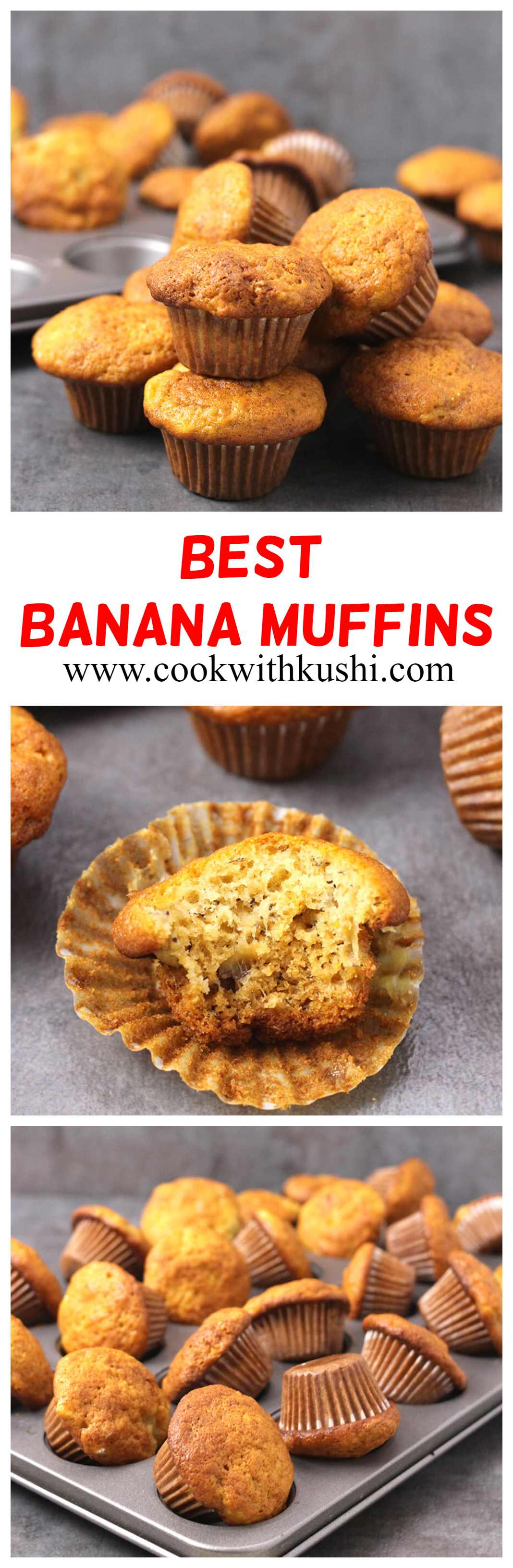 Banana Muffins / Breakfast Muffins / Chocolate Chip Muffins / Mini Muffins / Blueberry Muffins / Kids Friendly Recipes / SUmmer Recipes / Lunchbox recipes / Breakfast recipes / overripe bananas