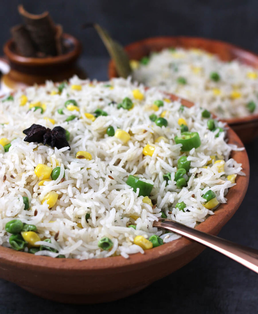 Ghee Rice / White Rice / vegan Rice / Best Rice Dish / Mexican Rice / Brown Rice Recipe / Rice Recipe Indian / Easy rice Recipes for dinner / South Indian Rice / Butter Rice / Simple Rice Recipe / festival recipe / Potluck recipes / Prasadam Recipes / Bhog Recipes / festival and Food / navratri recipe / Ghee Chaval / Sweet Corn recipe /Green Peas Recipe
