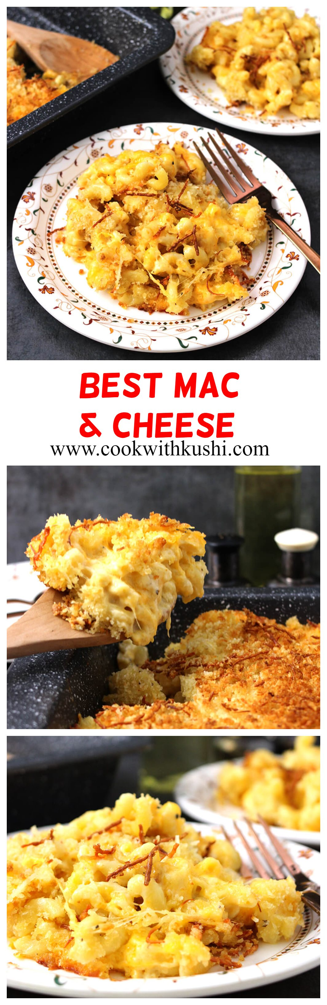 Mac and Cheese (Macaroni and Cheese) is a classic, rich and creamy cheesy deliciousness topped with crunchy topping that will satisfy all your taste buds and cheese cravings. The best Mac and Cheese you will ever make #bestmacandcheese #bakedmacandcheese #pastarecipes #cheeserecipes #summerrecipes #dinnerrecipes #lunchboxideas #partyfood #kidsfavorite.
