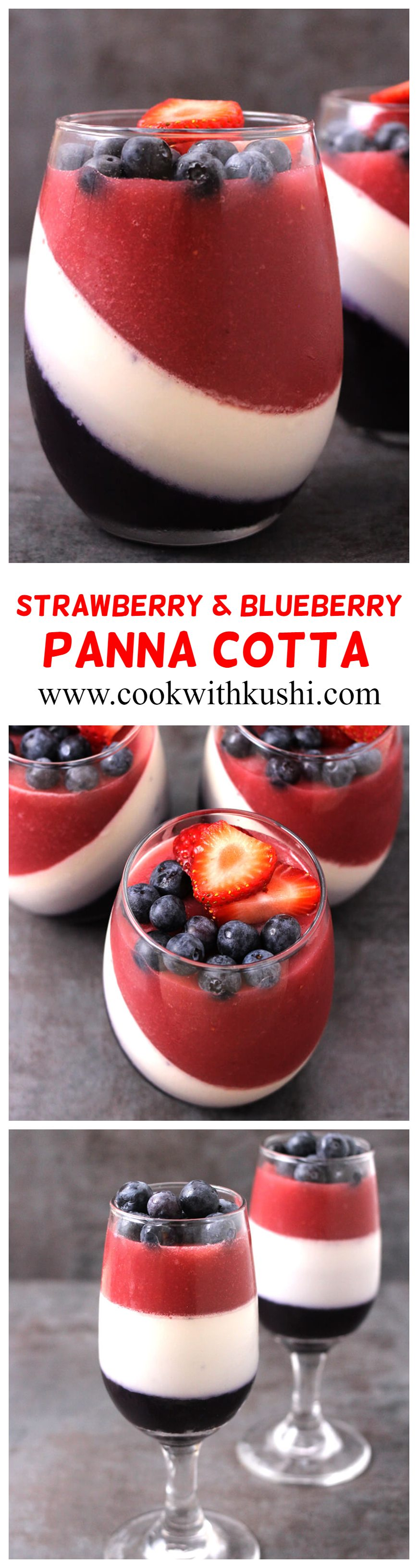 Strawberry and Blueberry Panna Cotta is a 3 layered fancy Italian no bake dessert with interesting flavors in each layer. It's sweet, creamy and tangy, plus very easy to make and you can prepare it in advance. Another perfect patriotic treat for the 4th of July. #pannacotta #italiandessert #kidsfriendly #4thofjuly #patriotictreats #patrioticdessert #nobake #freshberries #strawberries #blueberries