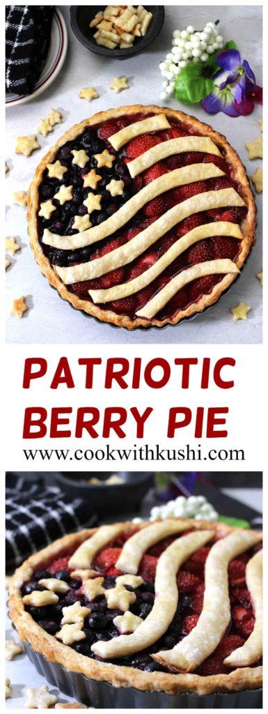 American Flag Pie / Berry Pie / Summer Pie / Fruit Pie / July 4th Pie / Patriotic Pie / Independence day Pie