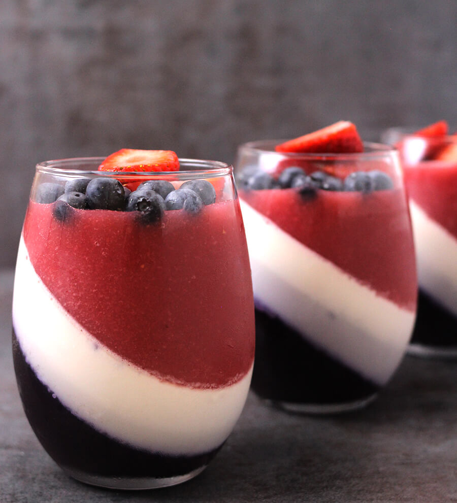 Strawberry and Blueberry Panna Cotta / Patriotic Treats / Patriotic Dessert / 4th of July / Summer Recipes / Fresh Berries / Fourth of july / Red white and blue / Flan Recipe / Italian Dessert / No Bake Dessert / Kids Friendly Recipes/ Blancmange