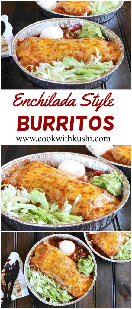 Enchilada Style Burritos is an easy to make and delicious diiner or meal where piping hot tortillas are stuffed with cheese, sauce, black beans and rice, and served with delectable sides. #enchiladacasserole #burritos #smotheredburritos #dinnerideas #healthydinner #mexicanfoodrecipes #sidedishes #authenticmexican #holidaybaking #cheese #enchiladasauce
