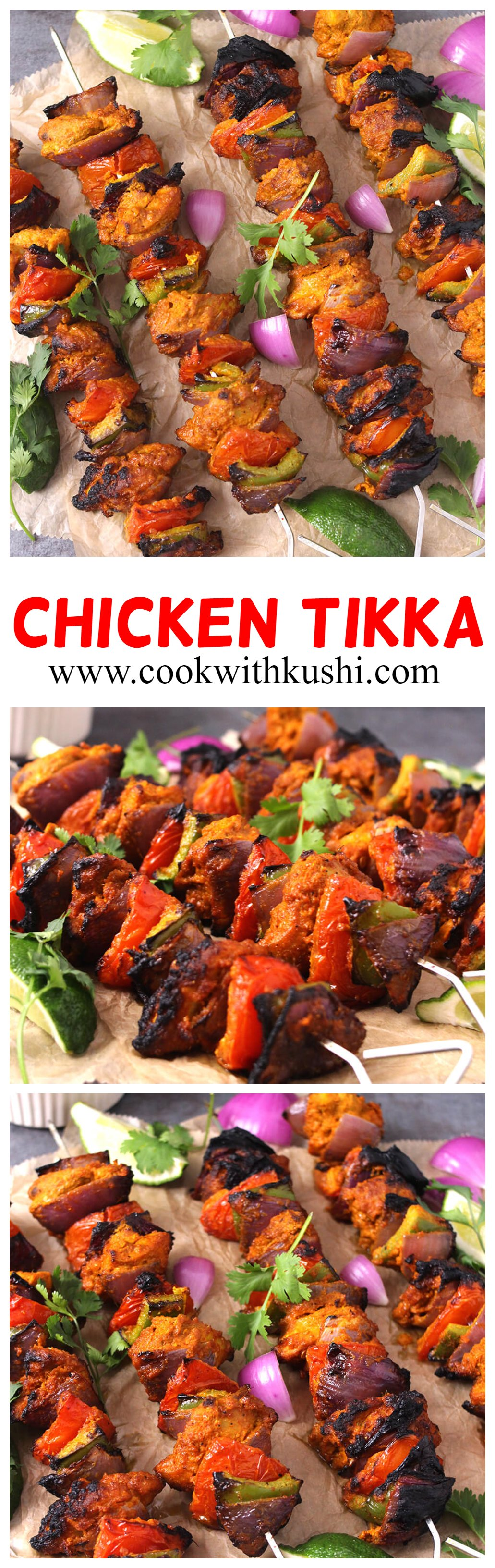 Chicken Tikka is a delicious and flavorful, easy to make Indian dish, where the chicken is first marinated in aromatic spice mixture and then grilled on skewers to perfection. I bet this will be one of the best chicken recipes you will try. #chickentikka #Restaurantstyle #chickentikkamasala #indianchickentikka #malaichicken #malaikebab #tandoorirecipes #paneertikka #popularindianrecipes #grilledchicken #easychciken #easydinnerrecipes