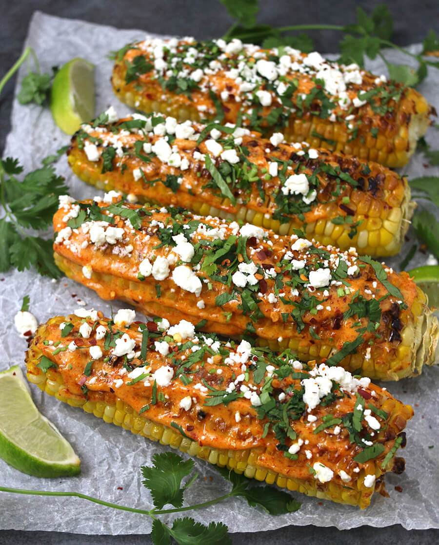 Mexican Corn on The Cob / Street Corn / Bhutta Recipes / Elote / Cinco De Mayo / Indian Street Food / Mexican Food / Gluten Free Recipes / Kids Friendly / Healthy Snacks / Best Snacks / Corn on the cob in oven / Corn on the cob in grill / Carnival food/ Holiday Recipes / Labor day recipes / barbecue Recipes