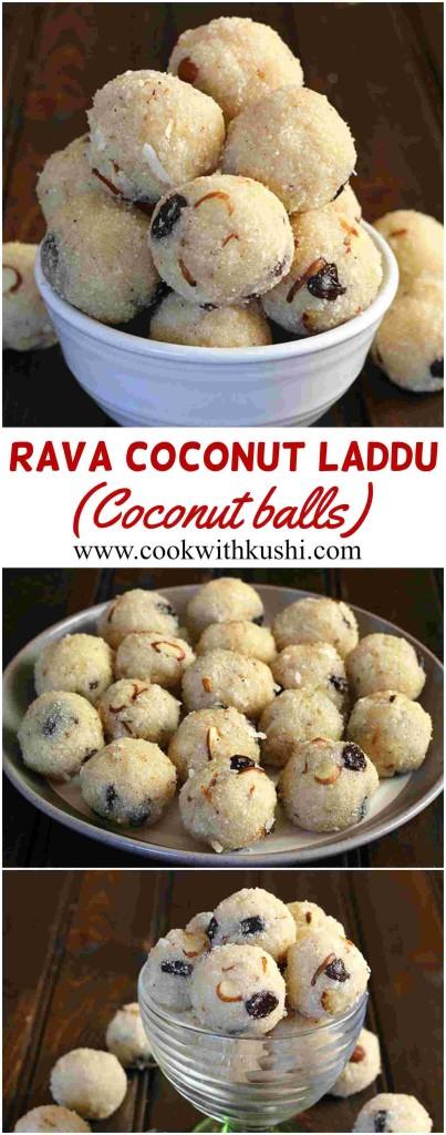 Rava Coconut Laddu or Coconut balls / laddoo