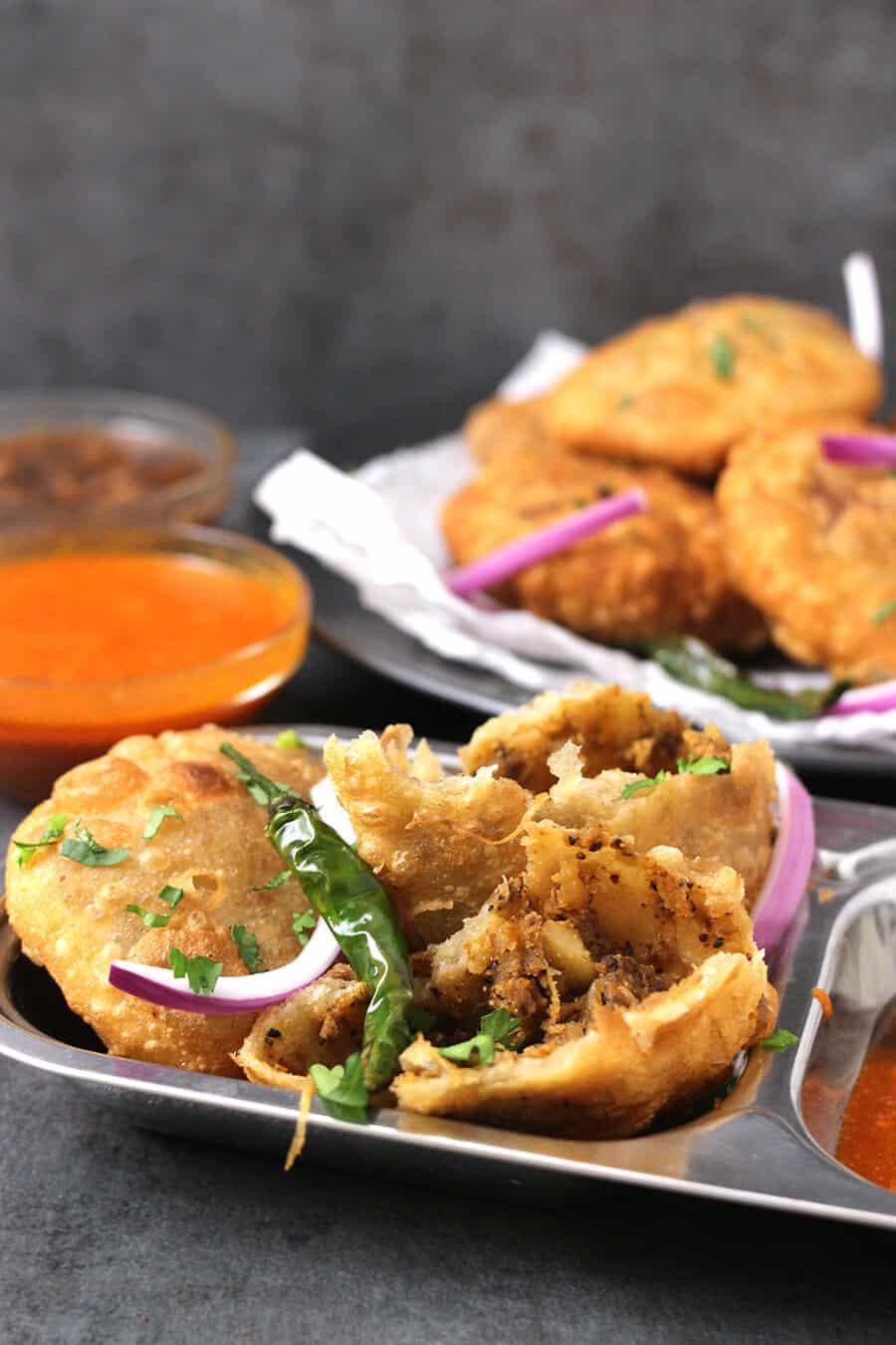 khasta kachori, raj kachori, moong dal kachori, aloo pyaz  kachori, indian street food, chats, chaat, evening snacks, diwali snacks recipes