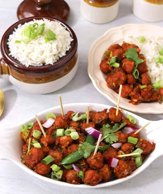 Soyabean chilli / Soya Manchurian / Soya Chunks Recipe