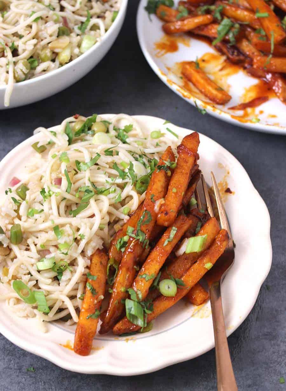 Honey Sriracha Potatoes / Game night recipes, Indian potato recipes, potatoes recipes, diwali food