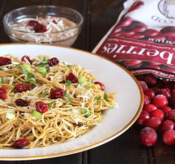 Cranberry Pesto Pasta with Fresh or Frozen Cranberries
