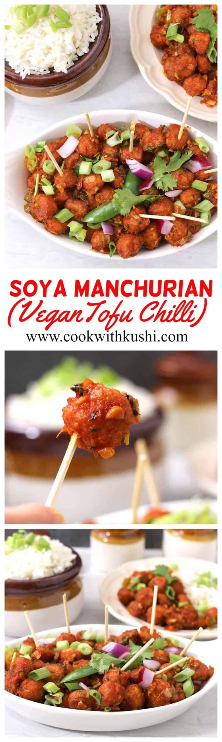 Soya Manchurian or Soya Chilli is a hot and spicy, sweet and sour, chewy and crispy – all in one Indo-chinese starter or appetizer. #tofurecipesvegan #soyachilli #soyamachurian #soyachunks #soyanuggets #soyabean #indochineserecipes