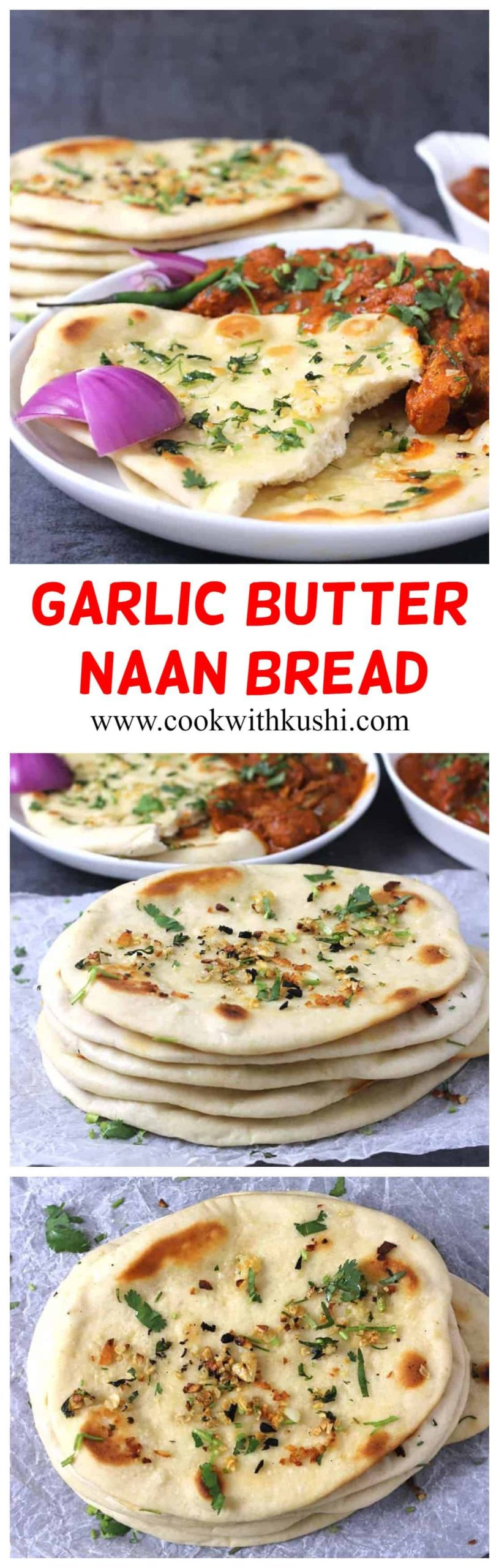 Garlic Naan Bread is a soft and chewy, garlicky and easy to make leavened Indian flatbread that can be served with any of your favorite Indian dishes. #garlicnaanrecipes #naanbreadrecipe #naanpizzarecipes #easynaanbread #garlicnaanbreadnoyeast
