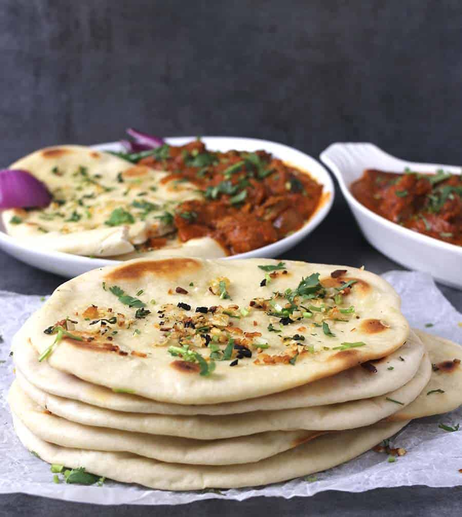 Vegan garlic recipes, Easy Naan Bread recipe, Skillet naan, Accompaniments for naan, simple and easy cheese naan, paneer naan, nawabi naan, keema naan, keto naan