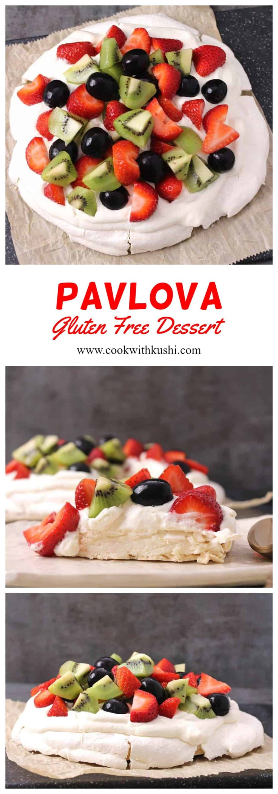 Pavlova is a meringue based 5 ingredient cake dessert which is soft and light inside like a marshmallow, crunchy crisp around the edges and chewy on the top. This is then topped with fresh whipped cream and fresh fruits in season making it a total gluten free dessert #summerfood #summerdessert #berries #glutenfree #easydesserts #meringue