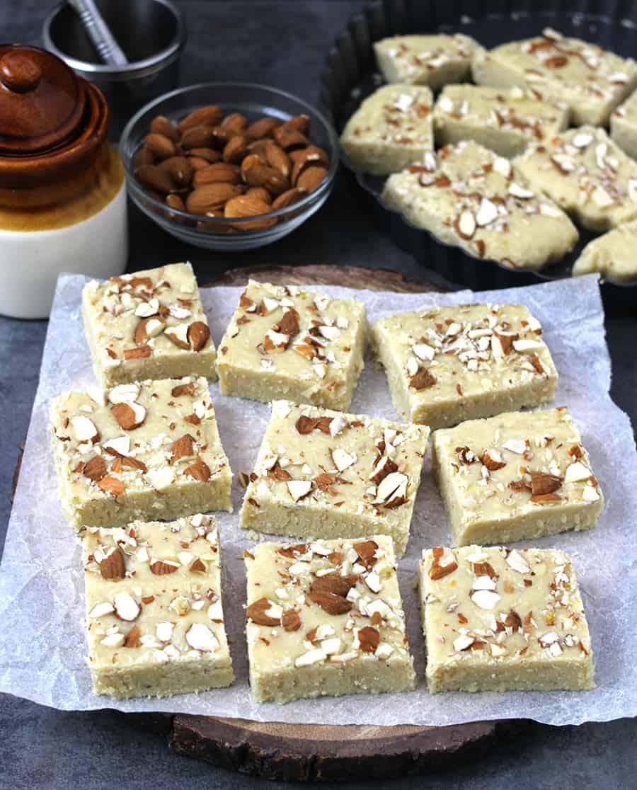 Milk Powder Burfi(Barfi) -Coconut Burfi or Malai Burfi - Indian milk cake eggless