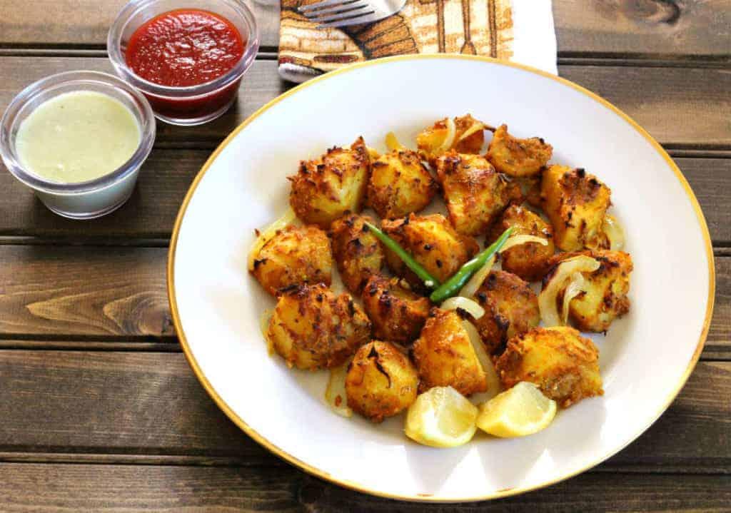 Tandoori Aloo (Indian side dish, Indian snacks) - Gluten Free, Vegan Oven Roasted Potatoes