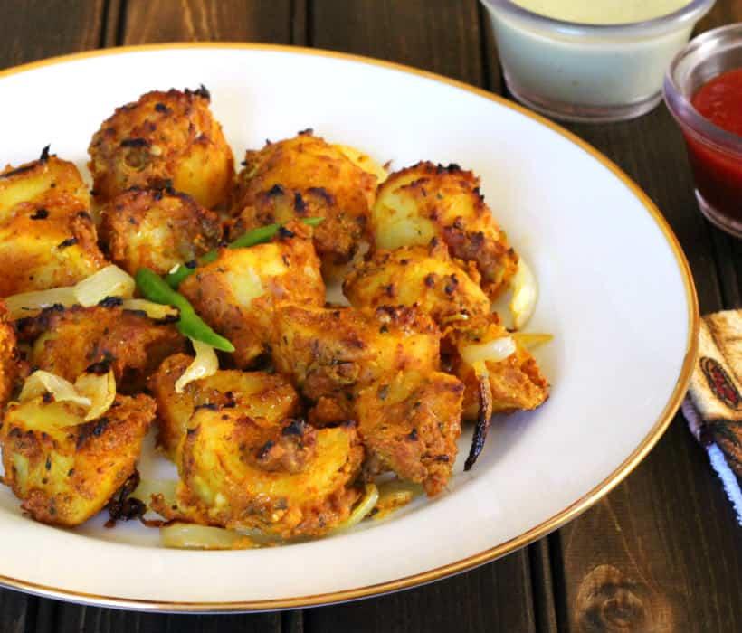 Tandoori Potatoes, Barbecue Recipes, veggies to Grill, summer food ideas, party food recipes, Grill recipes