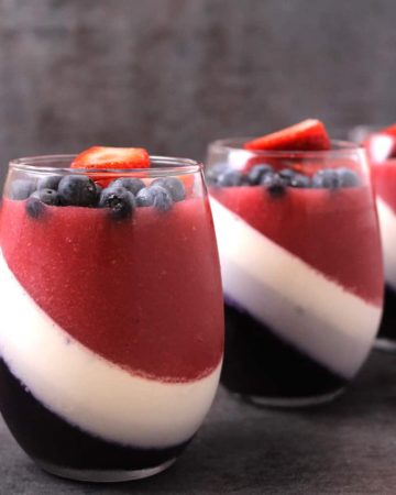 STRAWBERRY AND BLUEBERRY PANNA COTTA - NO BAKE ITALIAN GLUTEN FREE DESSERT FOR 4th of july, american flag dessert