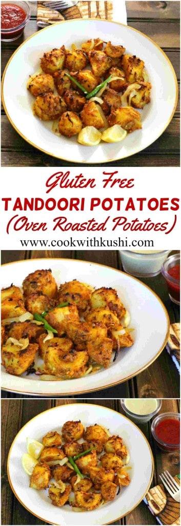 Tandoori Potatoes (Oven Roasted Potatoes) - Gluten free and vegan potato side dish, snack and appetizers #potatosidedish #potatorecipes #tandoorirecipes #tandoorichicken #aloorecipes #indiansidedish #indianfoodrecipes #spicypotatoes