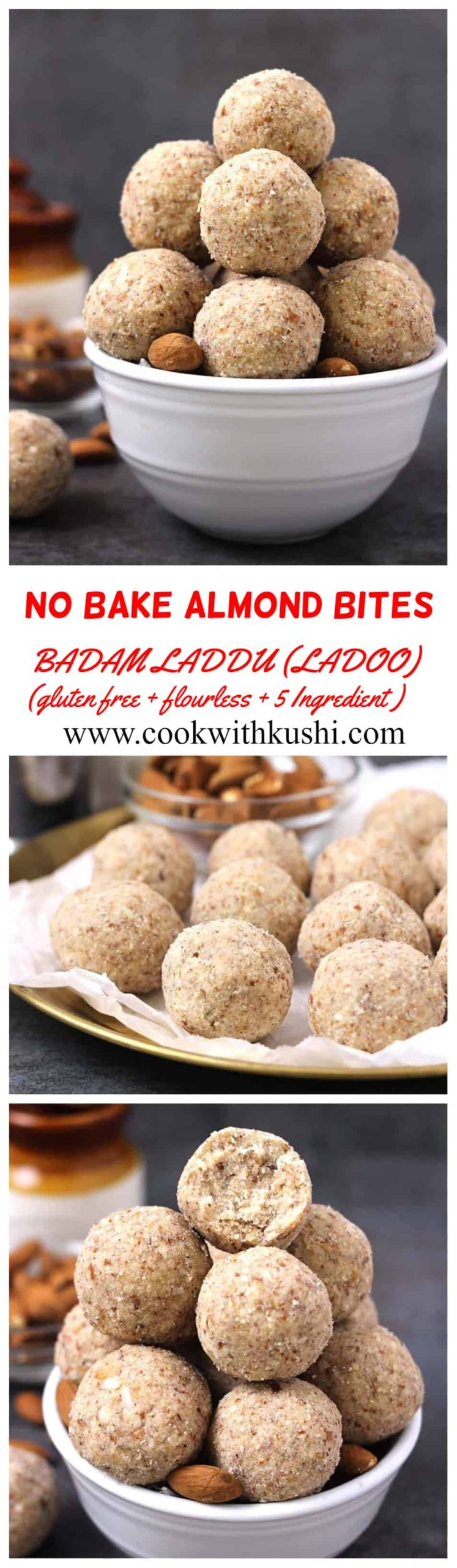 Badam Laddu (Ladoo) or Almond bites are delicious, melt in mouth easy to make, no bake Indian sweet prepared using 5 ingredients in less than 30 minutes. This is also flourless, gluten free, paleo #indiansweets #almonddesserts #laddu #ladoo #mithai #navratri #diwali #prasad #vrat