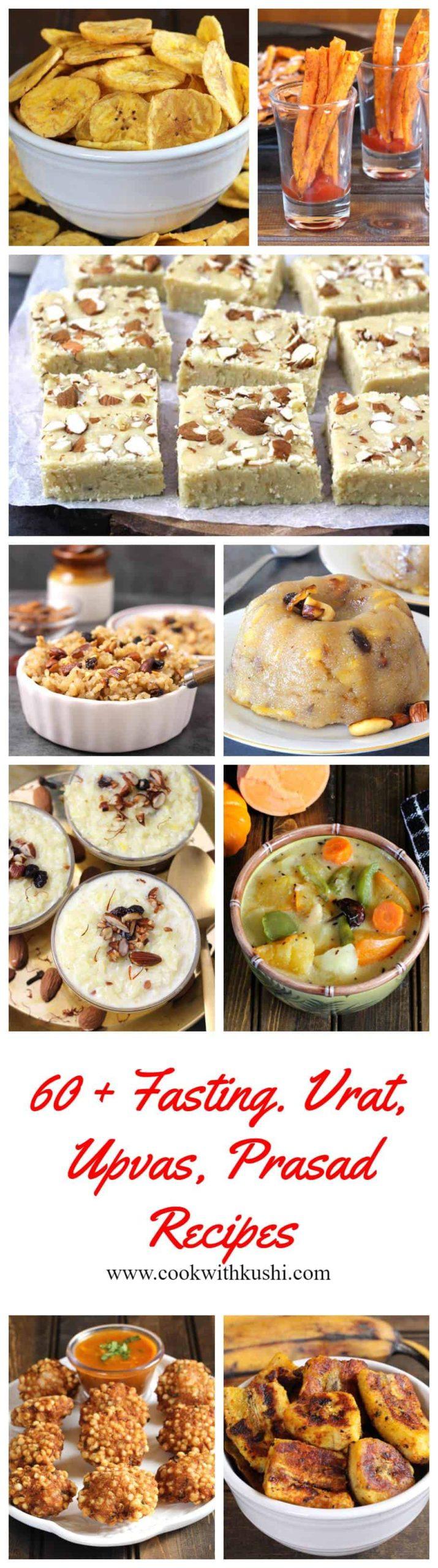 vrat or fasting recipes, upvas (upwas) recipes, prasad (prasadam recipes) that are made during Indian festivals like 9 days of Navratri, Janmashtami, Ganesh Chaturthi, Karwa chauth, Varalakshmi vratam (varamahalakshmi pooja), Shravan month, Diwali.