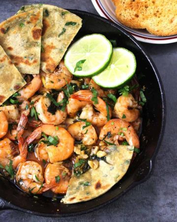 Garlic Butter Shrimp - Healthy and easy shrimp or prawns recipes, dinner side dishes and appetizers, quick meal recipes