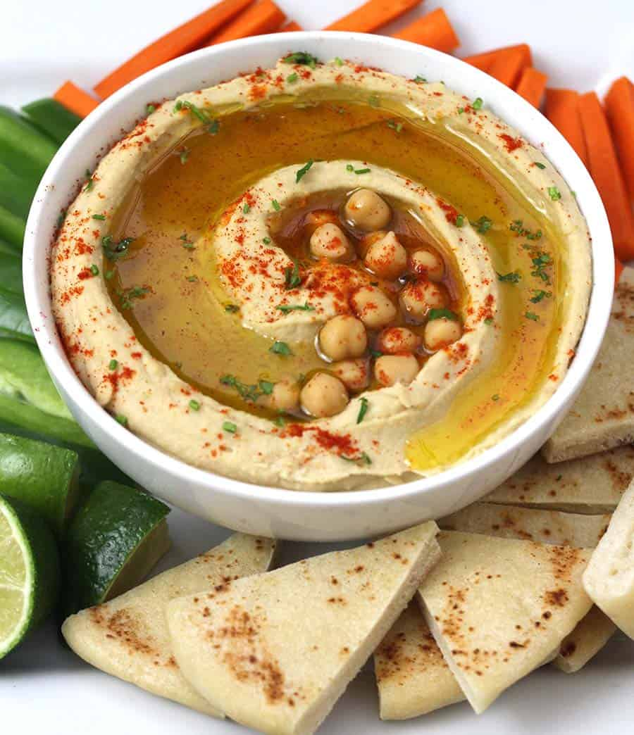 Hummus Dip, Easy homemade authentic hummus recipe with and without tahini, plant based protein, , food processor recipes, mezze tray, shawarma, wraps, pita bread