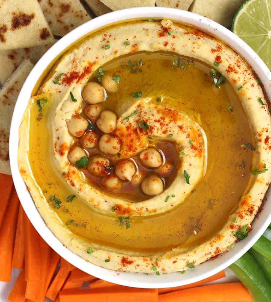 Hummus Dip, Easy homemade authentic hummus recipe with and without tahini, plant based protein, chickpeas, chole, chana, garbanzo recipes