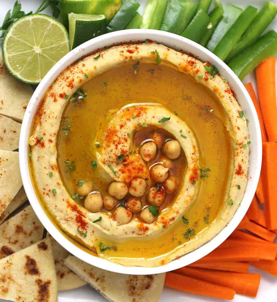 Hummus Dip, Easy homemade authentic hummus recipe with and without tahini, plant based protein, vegetarian meal recipes, hummus bowl, platter, bean dip