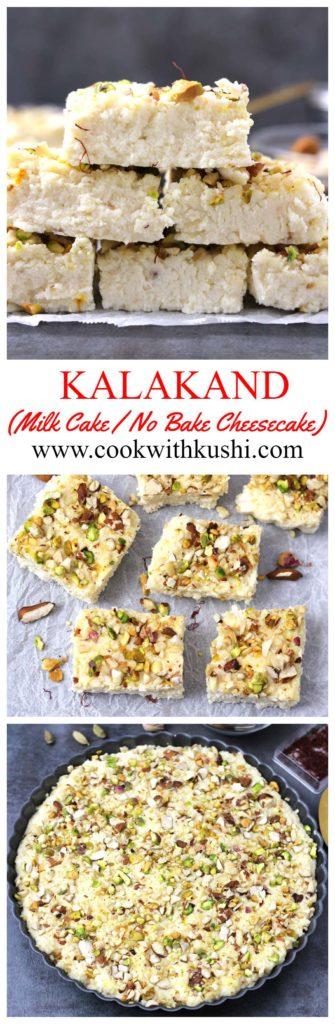 Kalakand / Quick Kalakand / Easy Kalakand Popular Indian sweets and desserts with milk, paneer, ricotta