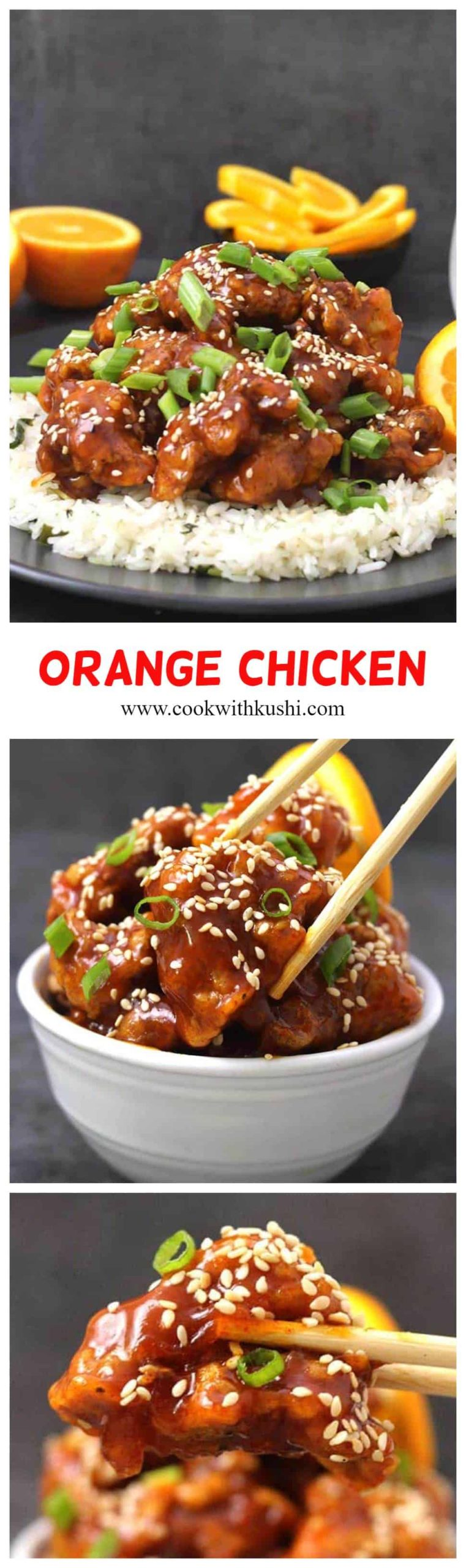 Orange Chicken - best and easy chicken side dish or appetizer for any dinner party. Crispy fried chicken thighs are tossed in flavorful and finger licking, homemade orange sauce. #orangechickensauce #crockpotorangechicken #ketoorangechicken #instantpotorangechicken #dinnerrecipes #chickendinnerideas