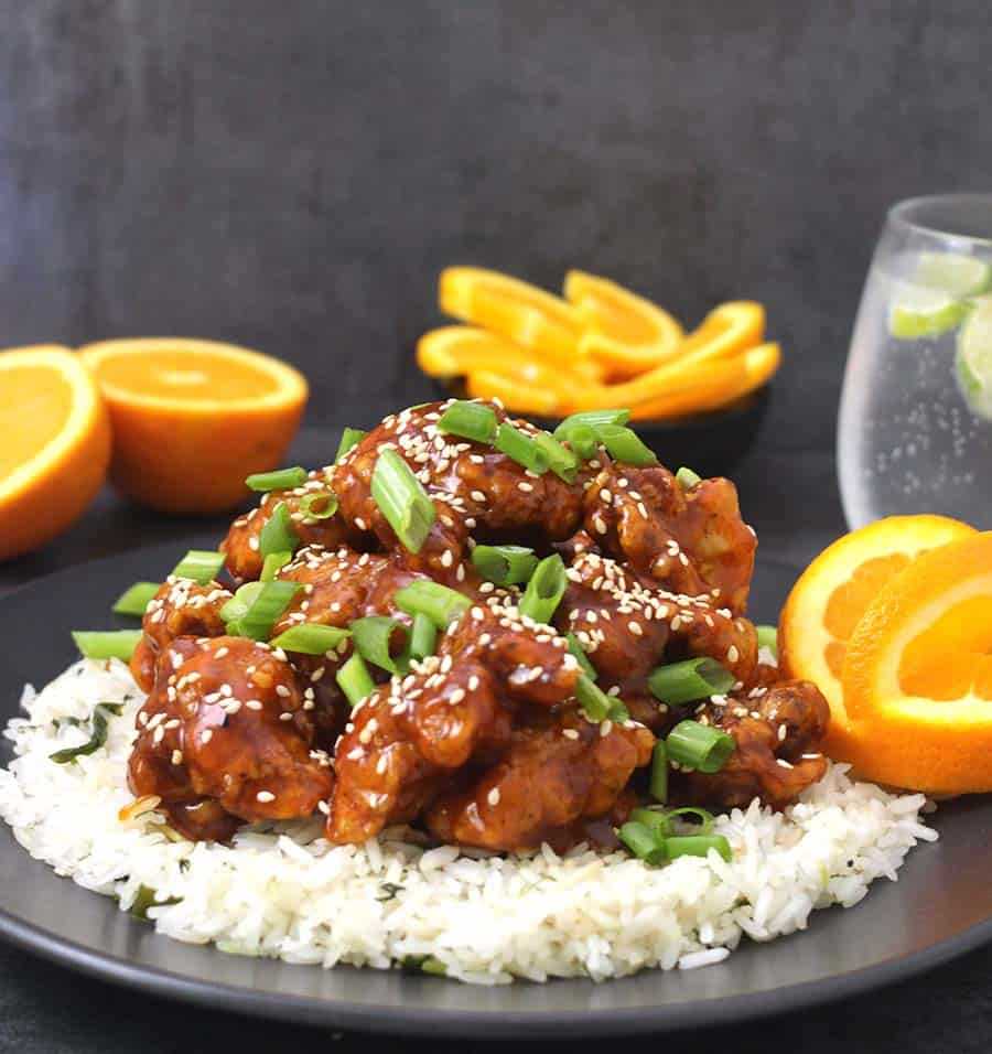 crispy orange chicken recipe, orange chicken sauce healthy chicken recipes - side dish and appetizers for dinner parties, thanksgiving, Christmas, football party, super bowl, sticky honey sesame chicken